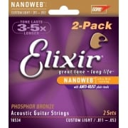 2 Sets Elixir 16534 Nanoweb Phosphor Bronze Acoustic Guitar Strings 11-52