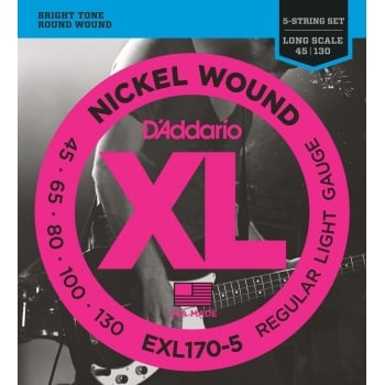 D'addario 2 Sets Of D'addario EXL170-5 5 String Bass Sets 45 - 130