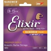 3 Sets Elixir 11052 Nanoweb Acoustic Guitar Strings 12-53