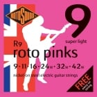 3 Sets Rotosound Roto Pinks 9-42 Electric Guitar Strings