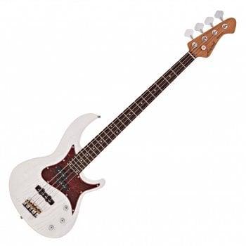Aria 313 MK2 Detroit Bass Guitar, Open Pore White