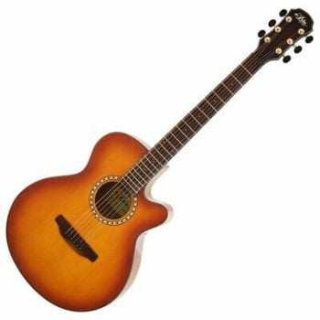 Aria TG1-LVS Thin Body Acoustic Guitar with Cutaway in Light Vintage Sunburst
