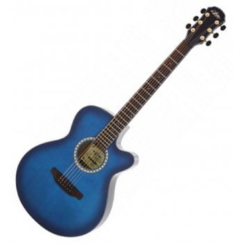 Aria TG1-SBL Thin Body Acoustic guitar with Cutaway in See-Through Blue
