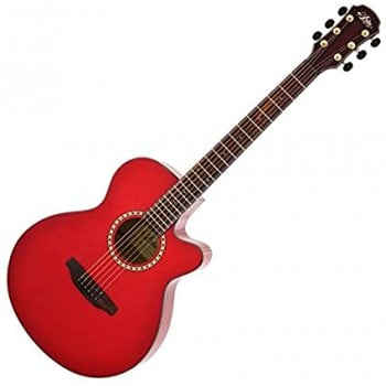 Aria TG1-SR Thin Body Acoustic guitar with Cutaway in See-Through Red