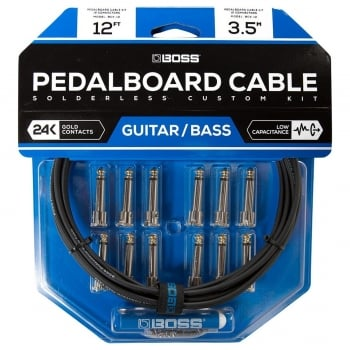 Boss BCK-12 Solderless Pedalboard Cable Kit, 12 Connectors, 12ft Cable