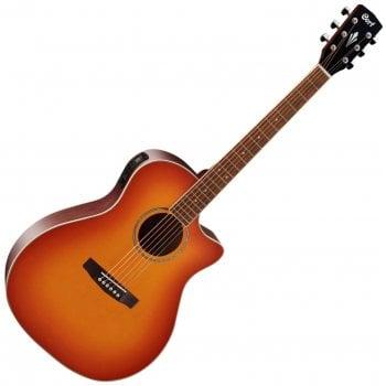 Cort GA-MEDX LVBS Grand Auditorium Regal Series Electro-Acoustic Guitar, Light Vintage Burst