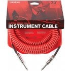 D'Addario Custom Series Coiled Instrument Cable, Straight Jack - 30ft - Red