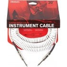 D'Addario Custom Series Coiled Instrument Cable, Straight Jack - 30ft - White