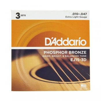 D'addario EJ15-3D Extra Light 10-47 Acoustic Guitar Strings