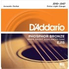 D'Addario EJ15 Phosphor Bronze Light Acoustic Guitar Strings 10-47