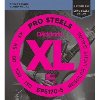 D'addario EPS170-5 ProSteels Long Scale Light Gauge 5-String Bass Strings 45-130