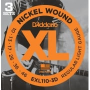 D'addario EXL110-3D Regular Light Electric Guitar Strings 10-46 (3 Sets)
