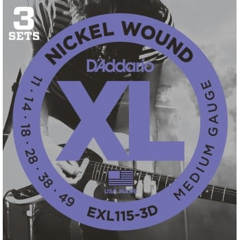 D'addario EXL115-3D Medium Gauge Electric Guitar Strings 11-49 (3 Sets)