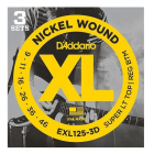 D'addario EXL125-3D Super Light Top/Regular Bottom Electric Guitar Strings 9-46 (3 Sets)
