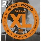 D'addario EXL140-3D Light Top/Regular Bottom Electric Guitar Strings 10-52 (3 Sets)