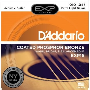 D'addario EXP15 Coated Extra Light Gauge Phosphor Bronze Acoustic Guitar Strings 10-47