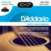 D'addario EXP16 Coated 12-53 Acoustic Guitar Strings and NS Micro Soundhole Tuner Bundle