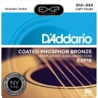 D'addario EXP16 Coated Light Gauge Phosphor Bronze Acoustic Strings 12-53