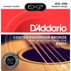 D'addario EXP17 Coated Medium Gauge Phosphor Bronze Acoustic Guitar Strings 13-56