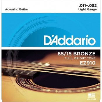D'addario EZ910 85/15 Bronze Light Gauge Acoustic Guitar Strings 11-52