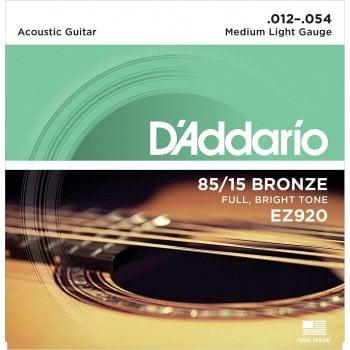 d 39 addario ez920 85 15 bronze medium light acoustic guitar strings 12 54. Black Bedroom Furniture Sets. Home Design Ideas