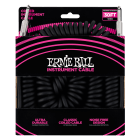 Ernie Ball 6044 30ft Coiled Ultraflex Instrument Cable - Straight - to - Right Angle Jack (BLACK)