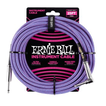 Ernie Ball 6069 25ft Braided Instrument Cable - Straight-to-Angled