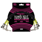 Ernie Ball 6075 1ft Patch Cable - 3 Pack, Black