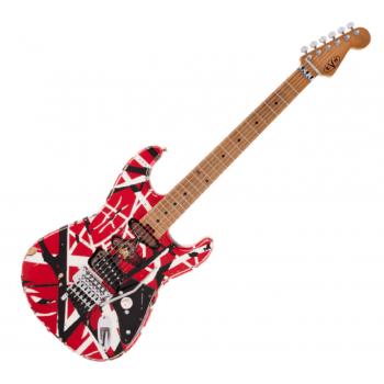 EVH (Eddie Van Halen) Frankie, Maple Fingerboard, Red with Black Stripes Relic Electric Guitar
