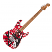 EVH (Eddie Van Halen) Frankie, Maple Fingerboard, Red with Black Stripes Relic Electric Guitar