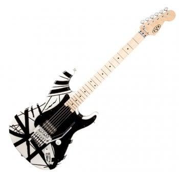 EVH (Eddie Van Halen) Striped Series Electric Guitar, White with Black Stripes