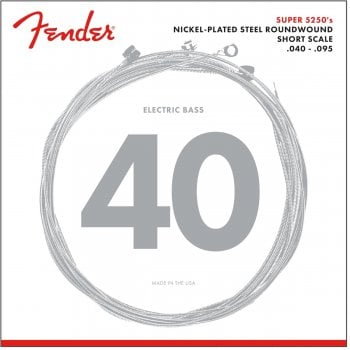 Fender 5250 Electric Bass Strings, Nickel-Plated Steel Roundwound, Short Scale, .40-.95 Gauges, (4)