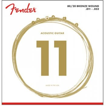 Fender 80/20 Bronze Acoustic Guitar Strings, Ball End, 70CL .011-.052 Gauges
