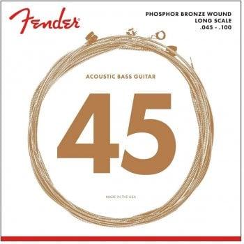 Fender 8060 Acoustic Bass Strings, Phosphor Bronze, Long Scale, .45-.100 Gauges, (4)
