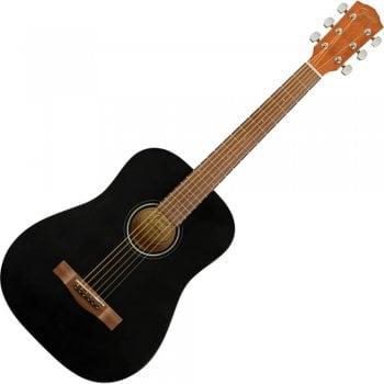 Fender FA-15 Travel Sized Acoustic Guitar, Walnut Fingerboard, Black - Gigbag Included