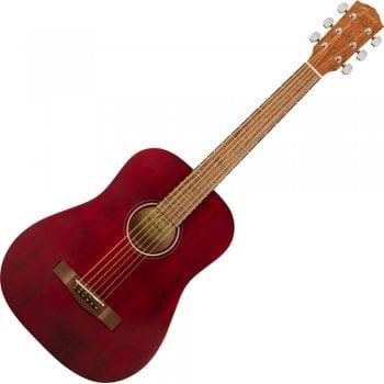 Fender FA-15 Travel Sized Acoustic Guitar, Walnut Fingerboard, Red - Gigbag Included