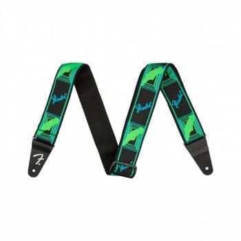Fender Genuine Neon Monogrammed Guitar Strap, Green/Blue