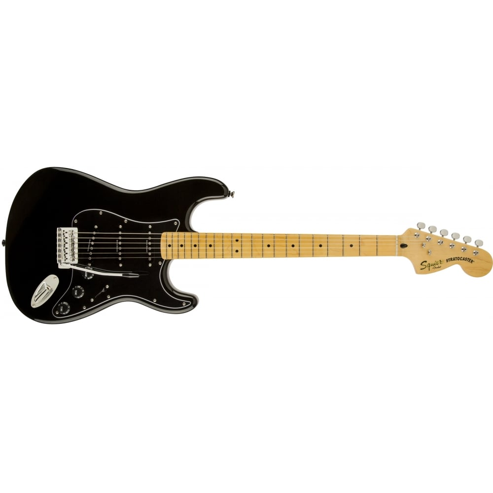 squier vintage modified 70s stratocaster maple fretboard black. Black Bedroom Furniture Sets. Home Design Ideas