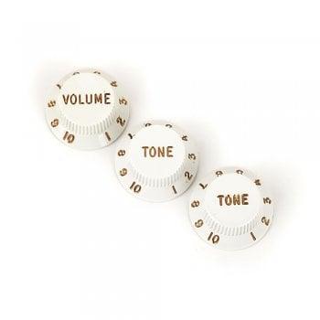 Fender Stratocaster 1 Volume + 2 Tone Knobs Set - White