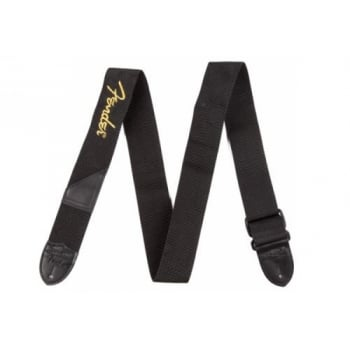 Fender Two Inch Black Poly Strap with Yellow Fender Logo