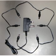 9V DC Regulated Power Supply With Integrated 6-Way Daisy Chain (Straight Tips)