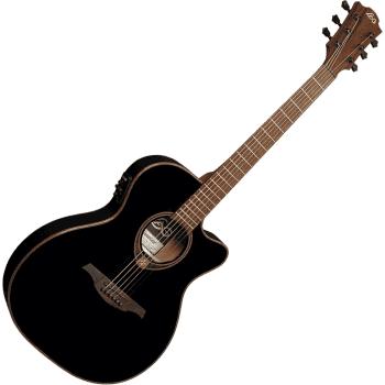 Lag T118ASCE-BLK Auditorium Slim Cutaway Electro-Acoustic Guitar, Black