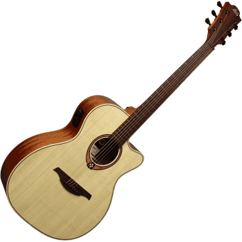Lag T88ACE Tramontane Auditorium Cutaway Electro-Acoustic Guitar - Natural Gloss