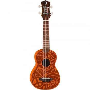 Luna Luna Mahognay Soprano Ukulele with Peace Love Design