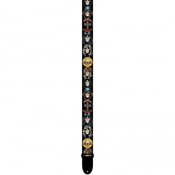 "Perri's 6012 Guns & Roses 2"" Polyester Extenable Guitar or Bass Strap Skulls"