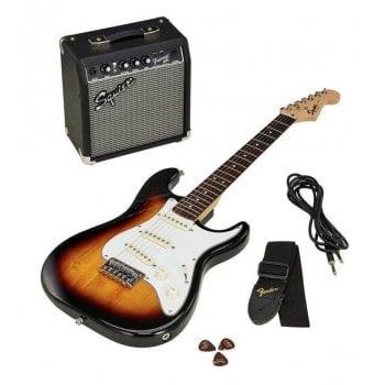 Squier FSR Bullet Stratocaster Electric Guitar Pack, 3-Tone Sunburst & Fender Frontman 10G Amp & Accessories