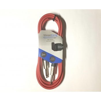 StageCore 3m Straight Jack Instrument Cable - Red