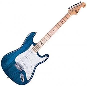 SX SST USA Swamp Ash/Maple Strat Style Electric Guitar, Transparent Blue