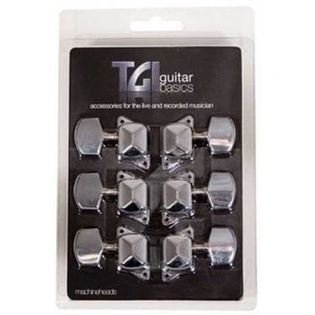 TGI Acoustic Guitar Nickel Machine Heads - set of 6, 3 a side